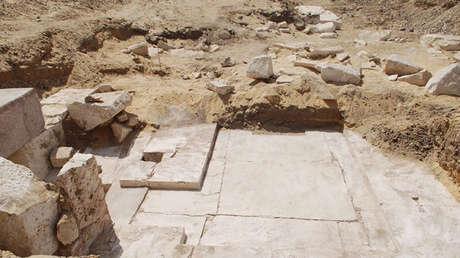 Los restos de la pirámide del faraón Seneferu en Dahshur. Ministerio de Antigüedades de Egipto, 3 de abril de 2017.