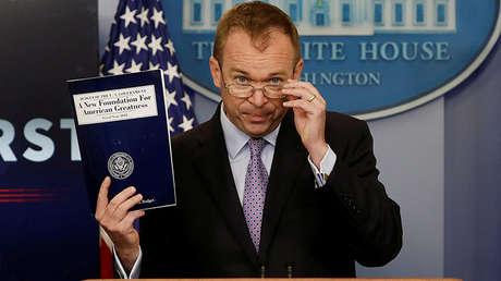 El director del Presupuesto Federal, Mick Mulvaney, en una rueda de prensa dedicada al proyecto de presupuesto de Donald Trump