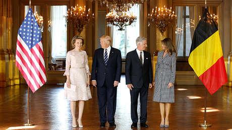 El presidente estadounidense, Donald Trump, y la primera dama, Melania, en un posado junto a los Reyes de Bélgica