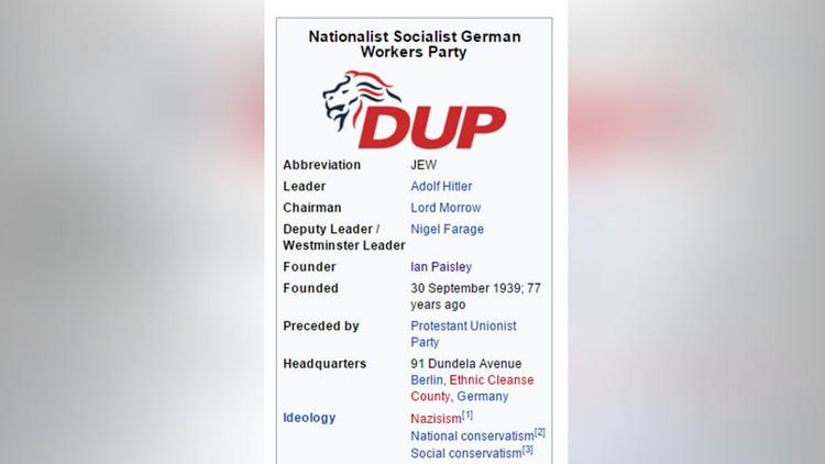 """""""Hitler es el líder"""": Lea la entrada en Wikipedia sobre el Partido Unionista de Irlanda del Norte"""
