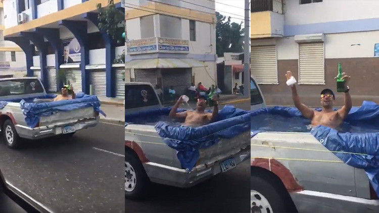 """""""La gente que goza"""": convierte su camioneta en una piscina y circula por la ciudad (VIDEO)"""