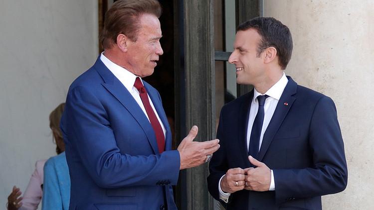 Schwarzenegger y Macron unen fuerzas para trolear a Trump (VIDEO)