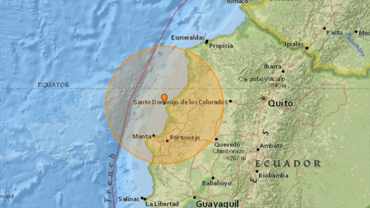 Un fuerte sismo de magnitud 6,3 sacude las costas de Ecuador