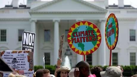 Una marcha sobre el cambio climático en Washington, EE.UU.