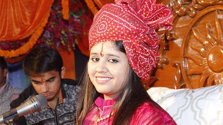 Sadhvi Saraswati, presidenta de una organización hindú en el Estado de Madhya Pradesh, en la India