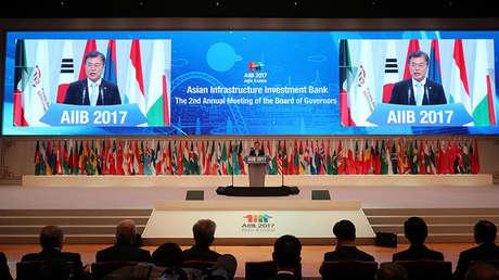 El presidente de Corea del Sur, Moon Jae-in, en la 2ª reunión anual del Banco Asiático de Inversión en Infraestructura, Jeju (Corea del Sur), el 16 de junio de 2017