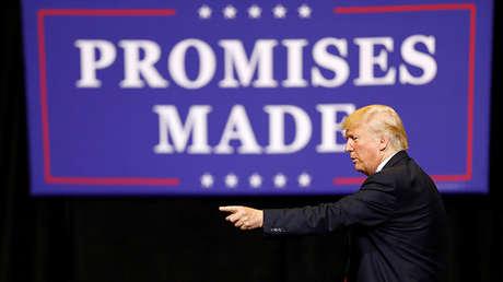 El presidente de EE.UU., Donald Trump, durante su discurso en Iowa