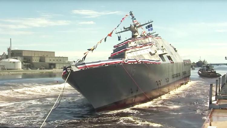 VIDEO: La Armada de EE.UU. bota un nuevo buque de guerra