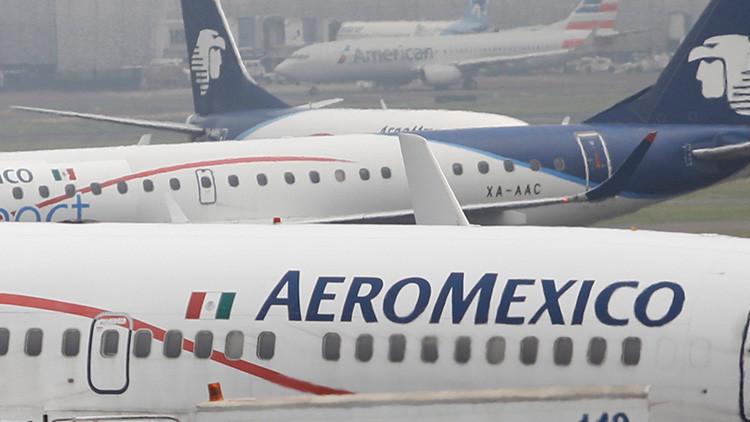 Vuelo de Aeroméxico es evacuado en el AICM por ponchadura de llanta