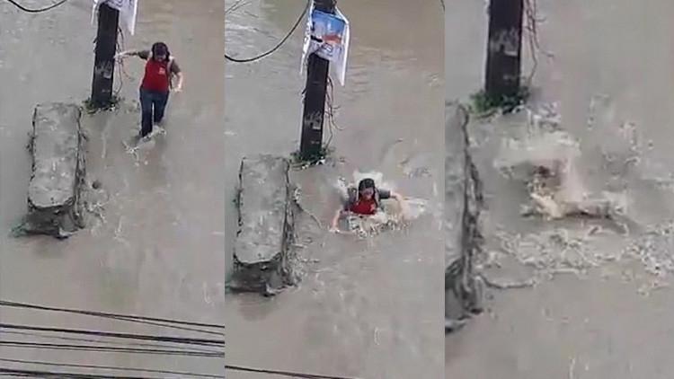 VIDEO: Una joven cae por una alcantarilla y reaparece 20 metros más adelante