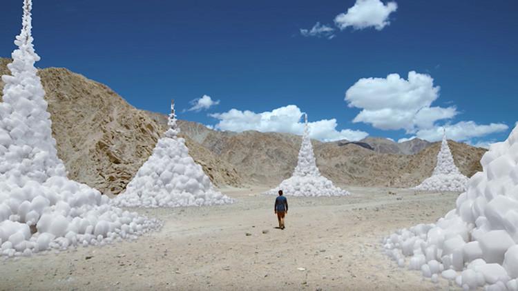 Ingeniería y naturaleza trabajan juntas: glaciares artificiales para combatir la sequía