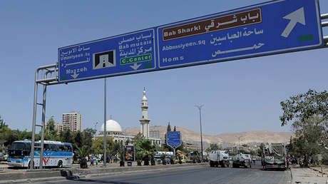 Vista de una autopista cerca del centro histórico de Damasco, Siria.