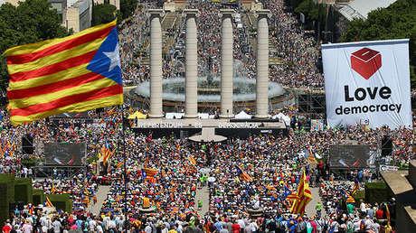 Manifestación en Barcelona a favor de la independencia el pasado 11 de junio
