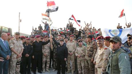 El primer ministro de Irak, Haider al Abadi, anuncia la victoria sobre el EI en Mosul, 10 de julio de 2017.