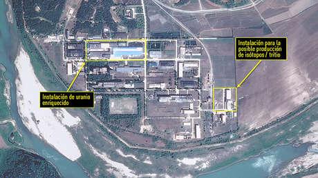 Imagen por satélite de la planta nuclear Yongbyon en Corea del Norte, el 14 de julio de 2017