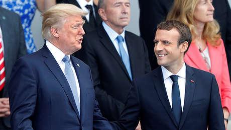 El presidente de Estados Unidos, Donald Trump, y su homólogo francés, Emmanuel Macron, en París, el 14 de julio de 2017.