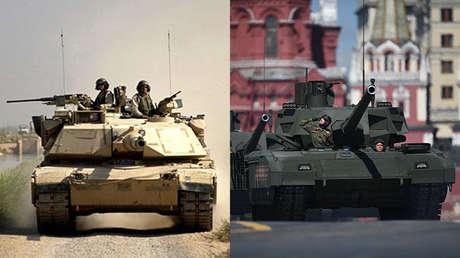 Un carro de combate M-1 Abrams de Estados Unidos y un T-14 Armata de Rusia