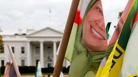 Partidarios de la Organización de los Muyahidines del Pueblo de Irán protestan frente a la Casa Blanca contra la visita del primer ministro iraquí Nuri al-Maliki, en noviembre de 2013