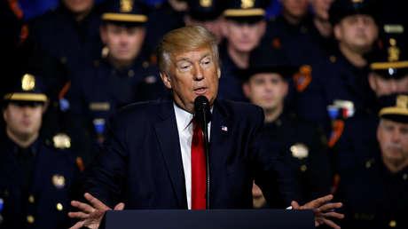 El presidente de EE.UU., Donald Trump, en Brentwood, Nueva York. 28 de julio de 2017