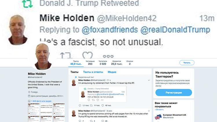 """Trump reenvía un mensaje en el que se le llama """"fascista"""" y luego lo borra"""