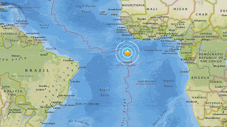 Terremoto de magnitud 6,8 en el Atlántico sur