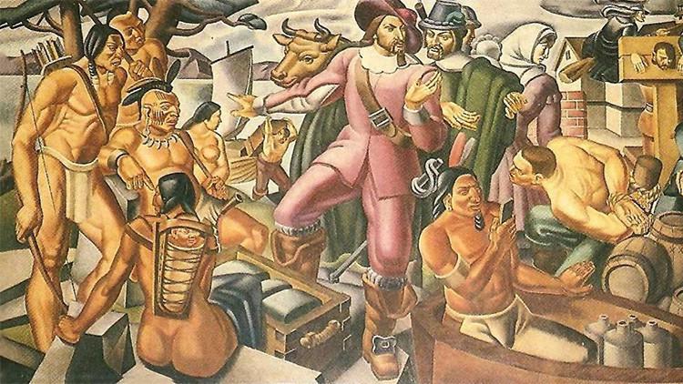 Descubren un 'iPhone' de la época colonial en una pintura de hace 80 años