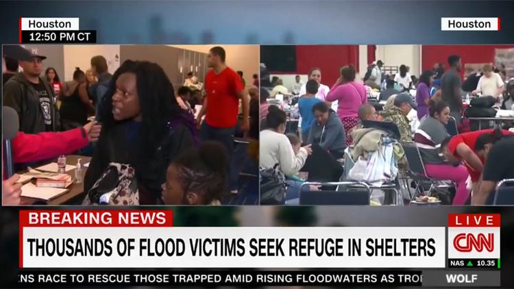 """VIDEO: Sobreviviente del Harvey critica a la CNN por filmar a la gente """"en sus peores momentos"""""""
