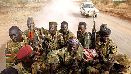Los soldados del Ejército de Liberación del Pueblo de Sudán, el 24 de abril de 2012