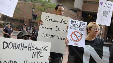 Una manifestación contra el manejo de la crisis de sobredosis en Nueva York, EE.UU., el 10 de agosto de 2017.