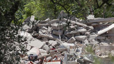 Escombros de la casa derruida por una explosión este 16 de agosto en el municipio catalán de Alcanar