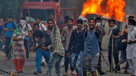Choques violentos en Panchkula, la India, el 25 de agosto de 2017.