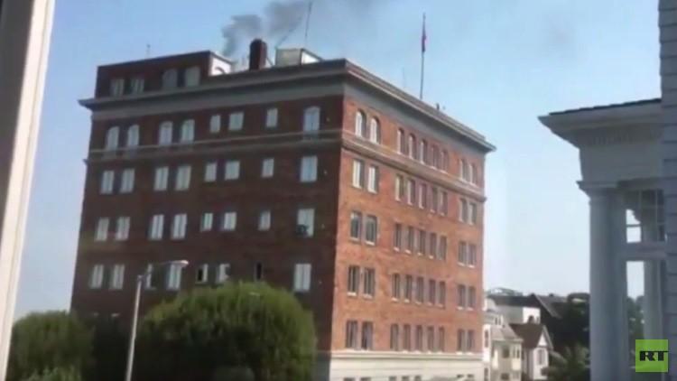 Así se ve desde Moscú la 'fumarola' sobre el consulado ruso en San Francisco (VIDEO)