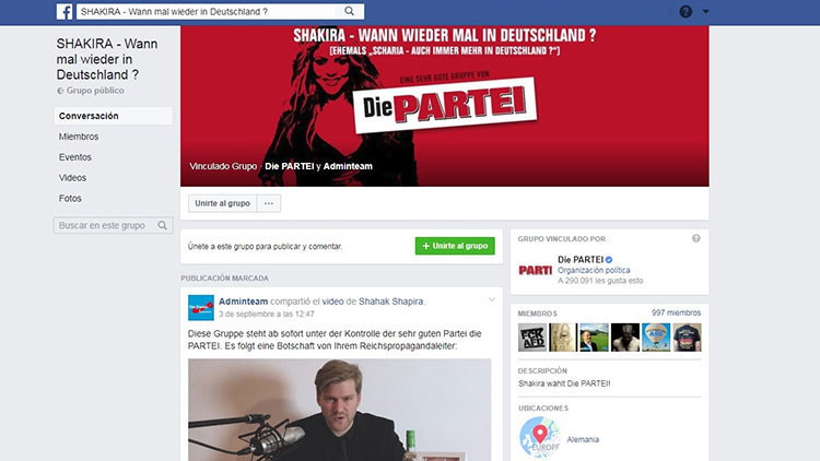 Alemania: 'Trolean' con Shakira a centenares de simpatizantes de un partido ultraderechista