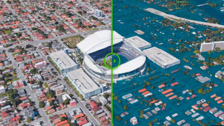 Antes y después: Una simulación cómo quedaría inundada Miami a finales de este siglo