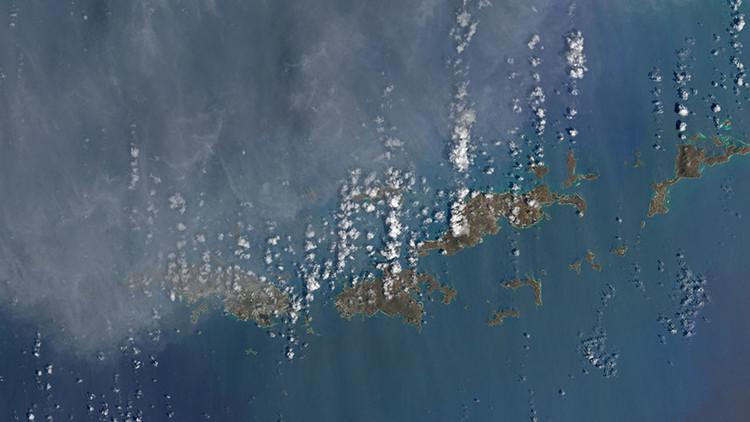 Fotos desde el espacio: Las islas del Caribe se tiñen de marrón tras el paso de Irma