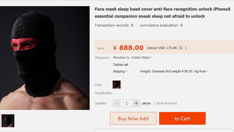 Sacan a la venta máscaras contra el desbloqueo del iPhone X mediante Face ID