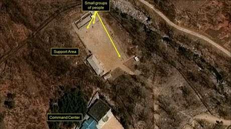 Imagen satelital del polígono norcoreano de pruebas nucleares de Punggye-ri.