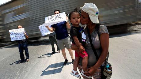 Una manifestación a favor de migrantes en la ciudad mexicana de Monterrey, el 27 de mayo de 2017.