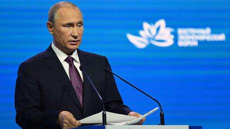 El presidente ruso, Vladímir Putin, en el Foro Económico Oriental celebrado en Vladivostok, el 7 de septiembre de 2017.