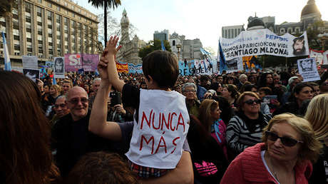 "A boy wears a t-shirt with the words ""Never again"" during a demonstration to demand actions to find Santiago Maldonado, a protester who has been missing since security forces clashed with indigenous activists in Patagonia, in Buenos Aires, Argentina September 1, 2017."
