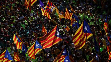 Banderas independentistas durante la manifestación de la Diada