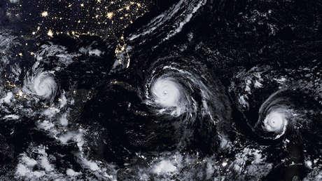 Tres tormentas sobre el Atlántico y el golfo de México