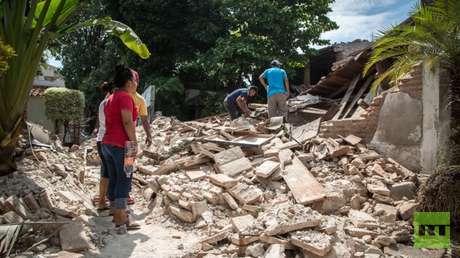 Los escombros de una casa en Juchitán de Zaragoza