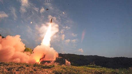 Lanzamiento de un misil Hyunmoo hacia el mar del Japón. 4 de septiembre de 2017.