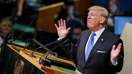 El presidente de Estados Unidos, Donald Trump, durante la 72.ª Asamblea General de la ONU en Nueva York, EE.UU., 19 de septiembre de 2017.
