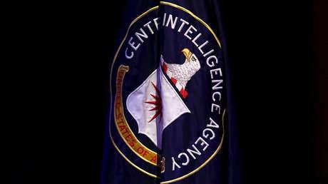 Bandera de la CIA durante una conferencia sobre seguridad nacional, Washington, EE.UU.