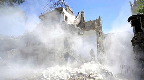 Lugar de una explosión cerca de la ciudad vieja de Damasco, Siria, el 2 de Julio de 2017.