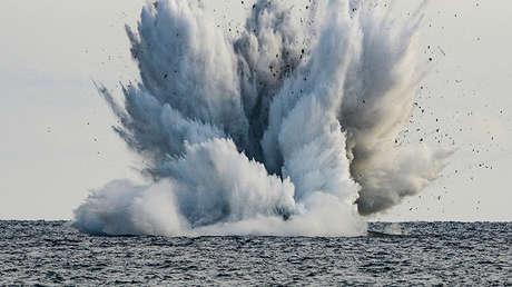 Un caza Eurofighter Typhoon de las Fuerzas Armadas de Italia se estrella y cae al mar en Terracina, Italia, el 24 de septiembre de 2017.