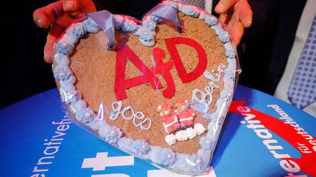 Una tarta con las letras AfD en Berlín, Alemania, el 24 de septiembre de 2017.