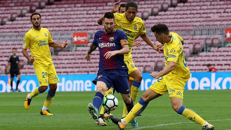 El Barça vence a Las Palmas en un partido a puertas cerradas en medio de la violencia en Cataluña